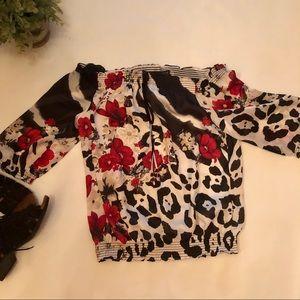 WHBM Off Shoulder Floral/Animal Print Top Sz Lg